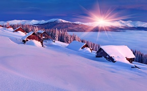 Picture winter, the sky, snow, landscape, nature, house, house, white, sky, landscape, nature, sunset, beautiful, winter, ...