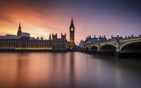 Picture Sunset, London, England, Big Ben, Whitehall