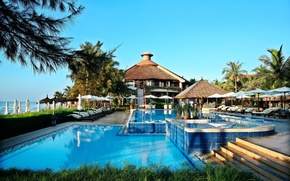 Picture sea, house, palm trees, pool, chairs, Jacuzzi, architecture, pool, sunbeds, interior, tables.