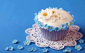 Picture background, cupcake, flowers