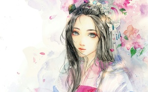 Picture girl, flowers, art, watercolor, sinvia