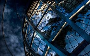 Picture design, construction, beams, globe, metal, architectural