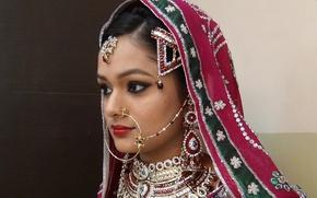 Picture girl, decoration, East, wedding makeup, muslim bridal makeup