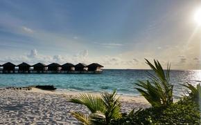 Picture beach, the sky, the sun, sunset, tropics, the ocean, island, white sand, Мaldives