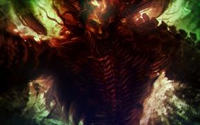 Picture the demon, horns, Por-t-falatron, bones. art