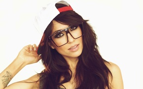 Picture Girl, Linen, Look, Glasses, Face, Background, Brunette, Tattoo, Cap, Alie Laius