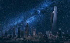 Picture building, night city, starry sky, Kuwait City, Kuwait, Kuwait
