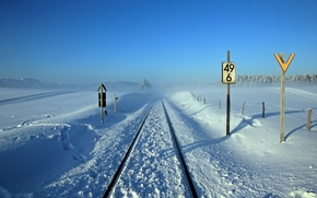 Picture winter, landscape, signs, railroad