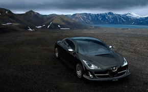 Wallpaper Concept, mountains, Peugeot, black