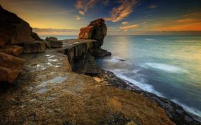 Picture sea, sunrise, rocks, coast, Portland, Pulpitt Rock