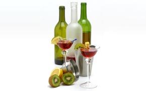 Picture bottle, still life, fruit, glass, drink, cocktail