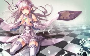 Picture crystal, girl, tile, elf, Emilia, Re: Zero kara hajime chip isek or Seikatsu