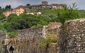 Picture landscape, wall, tower, home, Italy, fortress, Liguria, Sarzana