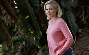 Picture jeans, garden, actress, hairstyle, blonde, jacket, photoshoot, Kristen Bell, Kristen Bell, LA Times, Jay L …