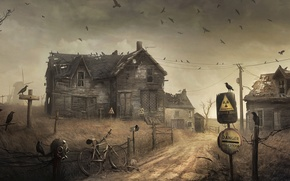 Picture house, the fence, radiation, mill, crows, danger zone