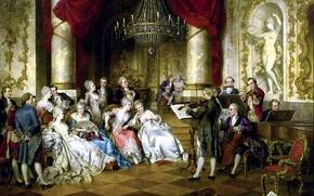 Picture notes, ladies, violin, picture, Austria, piano, chandelier, statue, Concert, flute, Palace, hall, musicians, violin, Austria, …