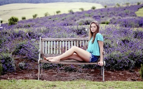 Picture girl, flowers, bench