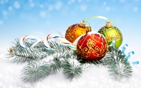 Picture snow, decoration, needles, balls, new year, Christmas, branch, Lollipop
