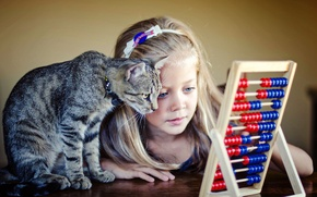 Picture cat, cat, girl, friends, scores