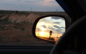 Picture road, sunset, mirror