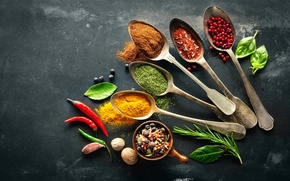 Picture Leaves, Spoon, Pepper, Food, Nuts, Spices, Garlic