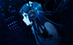 Picture girl, blue, headphones, mio akiyama, k-on, mio, akiyama