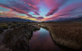 Picture mountains, clouds, river, dawn, morning, CA, the ravine, Sierra Nevada, Owens