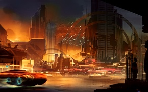Picture sunset, the city, future, river, fiction, skyscrapers, megapolis