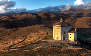 Wallpaper hills, Italy, Church, Abruzzo
