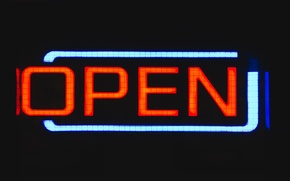 Picture sign, night, glow, neon, England, United Kingdom, open, Birmingham