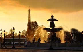 Picture Eiffel tower, france, WATER, The SKY, DROPS, SQUIRT, SUNSET, LIGHTS, FOUNTAIN, JET, PARIS, FRANCE, PARIS