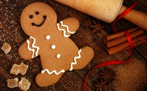 Picture winter, food, New Year, cookies, Christmas, man, sugar, cinnamon, dessert, cookie, cakes, holidays, figure, glaze, …