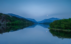 Picture forest, the sky, trees, mountains, night, lake, reflection, hills, the moon, UK, blue, Wales
