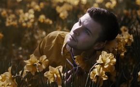 Picture flowers, portrait, male