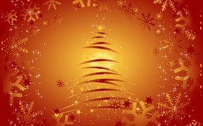 Picture tree, new year, vector