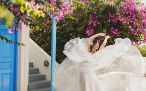 Picture girl, flowers, dress, the bride