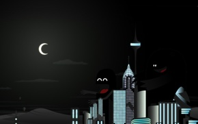 Wallpaper night, the city, Monsters