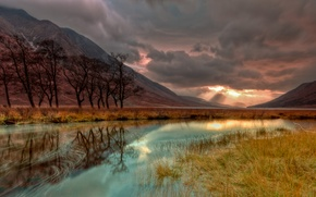 Picture autumn, the sky, trees, sunset, mountains, clouds, lake