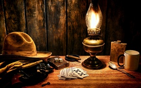 Picture surface, style, table, cubes, lamp, hat, key, bones, mug, cigar, gloves, revolver, style, western, Western, …