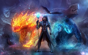 Picture animals, magic, art, monsters, male, staff, the sorcerer, elementalist