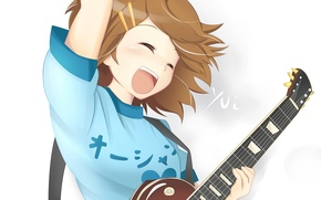 Picture girl, guitar, clips, Yui, K-On!, Light music