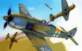 Picture war, figure, dogfight, Focke-Wulf, fighter-attack aircraft, Fw 190 A-5