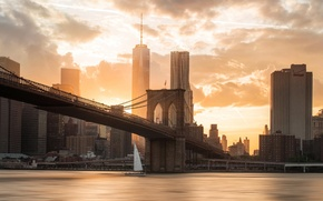 Picture sunset, bridge, the city, river, Brooklyn, USA