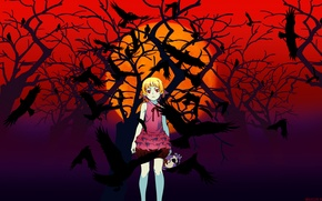 Picture night, skull, crows, red eyes, baby, blood moon, Bakemonogatari, The Shinobu Oshin, history of monsters