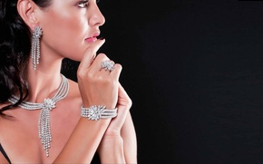 Picture look, girl, decoration, makeup, ring, bracelet, earrings, necklace