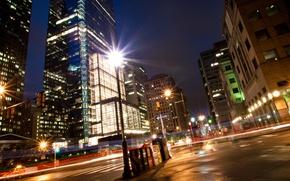 Picture night, lights, street, home, lights, USA, view, Philadelphia