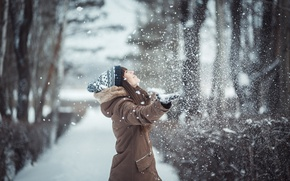 Picture girl, snow, mood, Winter, girl, winter, mood, photographer Laverov Andrew, Girl in winter, snow falls, …