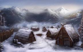 Picture snow, home, village, art, settlement, the Vikings, Michael Davini