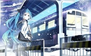 Picture hatsune miku, snow, art, winter, station, siji, girl, train, bag, vocaloid