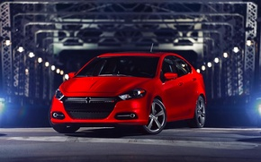 Picture Red, Auto, Night, Dodge, Dodge, The front, Dart